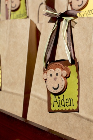 goody bag tag with monkey