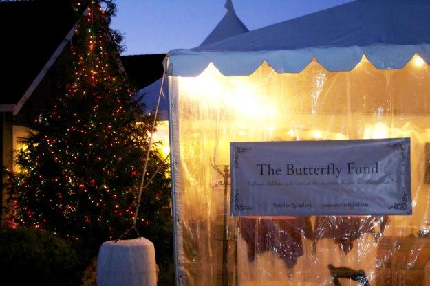 party in outdoor tent in winter