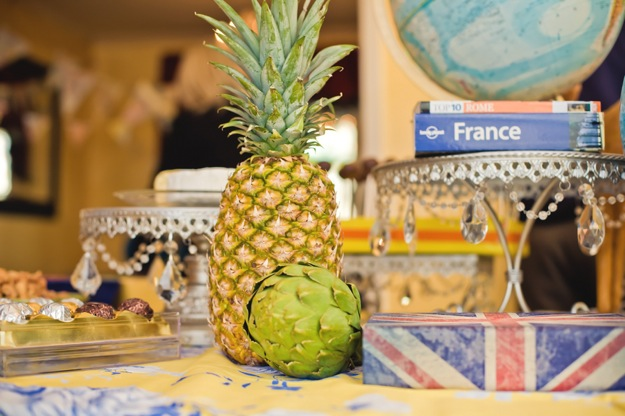 Food spread with French and tropic theme
