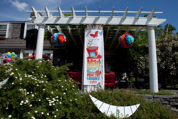 terrace decorated for fundraising tea party