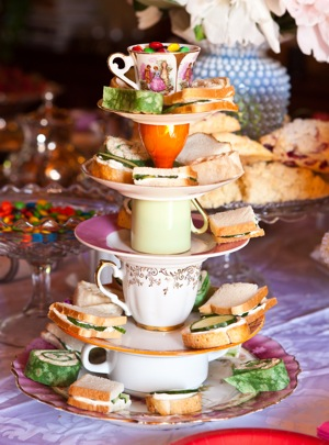 DIY display for tea cups and tea party food