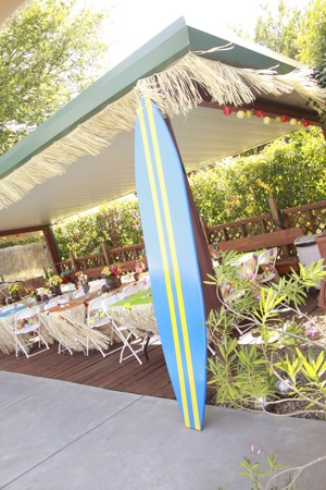 Surfboard for Luau themed party
