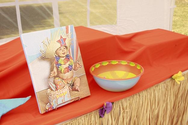 Hawaiian themed birthday party baby