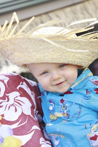 Cute one year old boy in hat