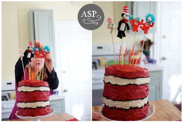 birthday cake with Dr. Seuss theme