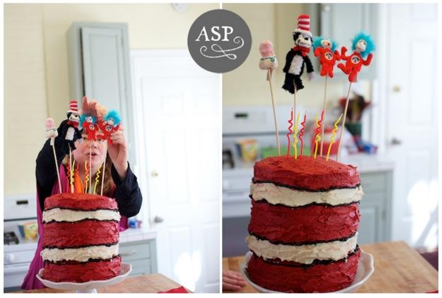 birthday cake with Dr. Seuss theme