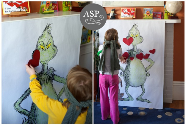 Pin the Heart on the Grinch party game