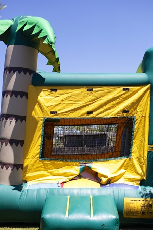 bounce house with monkey theme
