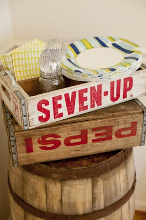 vintage soda crates used as party decorations