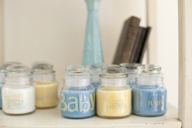 candles in blue and yellow for baby shower