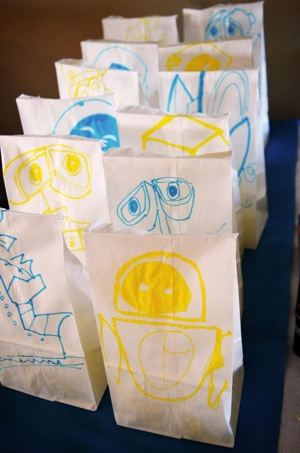 Wall E themed goody bags