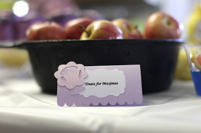 apples with themed sign for party