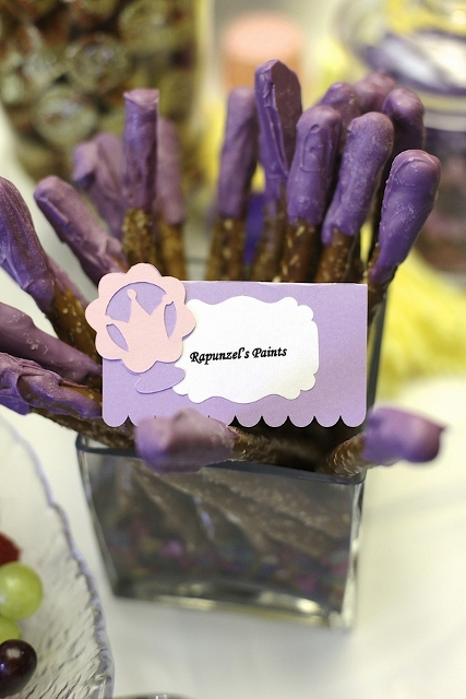 purple chocolate covered pretzels for party decorations