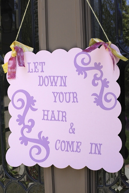 Let Down Your Hair sign for Rapunzel themed party