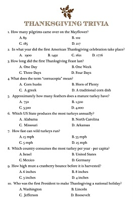image regarding Thanksgiving Quiz Printable referred to as Thanksgiving Supper Tips and No cost Printables
