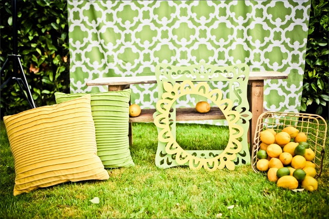 party decorations in green and yellow