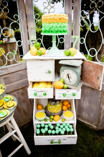green and yellow party decorations with lemons and limes
