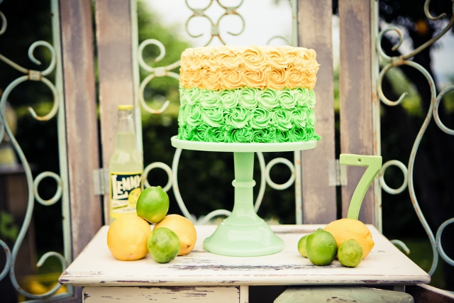 birthday cake in yellow and green