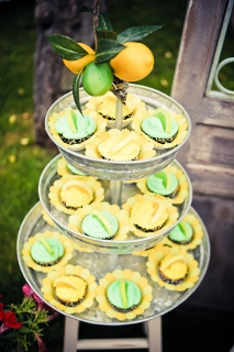 party food in citrus colors