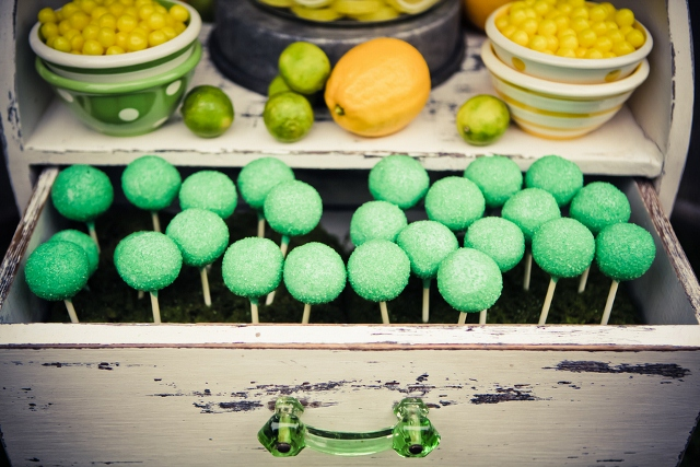 party treats in green and yellow