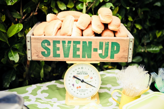 old fashioned seven up crate on scale