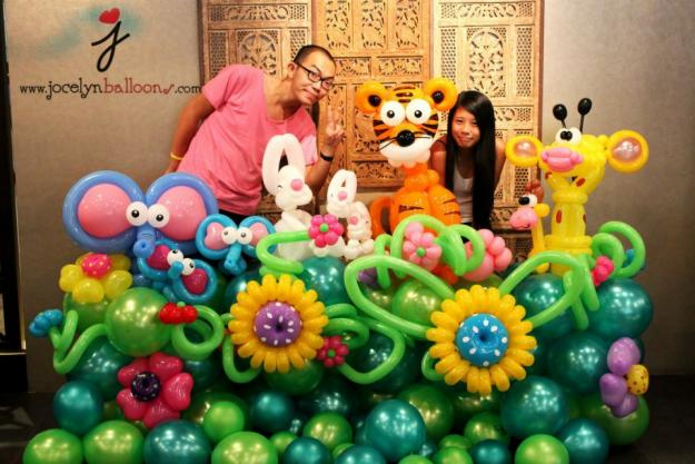 garden made from balloons