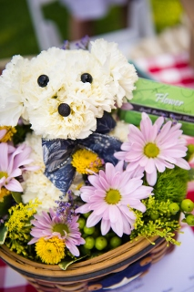 dog shaped flower arrangement