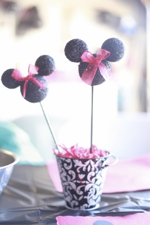 flower pot minnie mouse black, white
