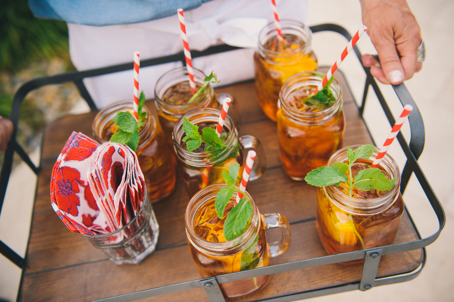 Party cocktails served in mason jars