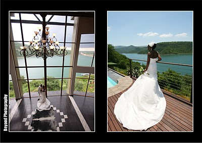 african american bride in large white wedding dress in front of water