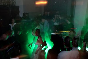 bride dancing with green lights