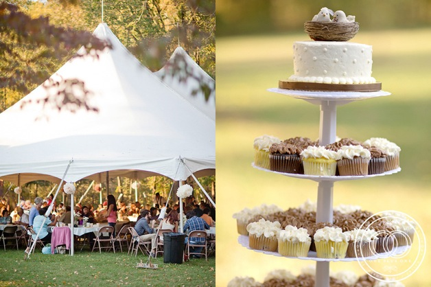 cupcake tree at tented wedding