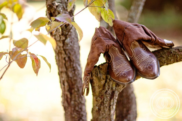 tree with brown cowboy boots