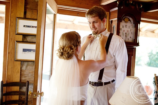 bride and groom in cabin
