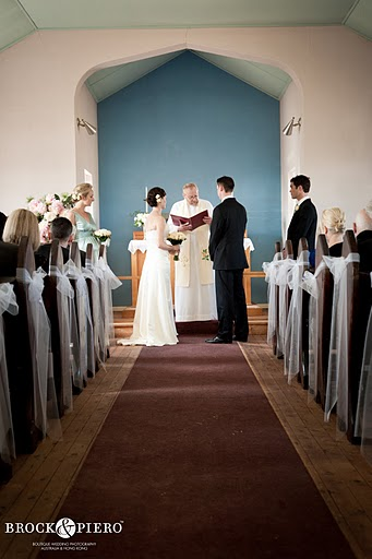 white and blue small church wedding