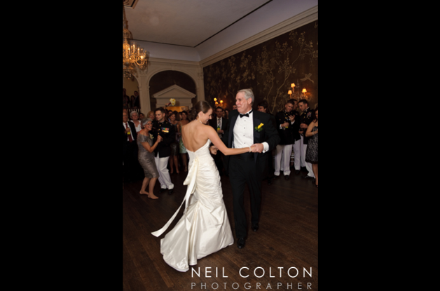 father of the bride and bride dancing