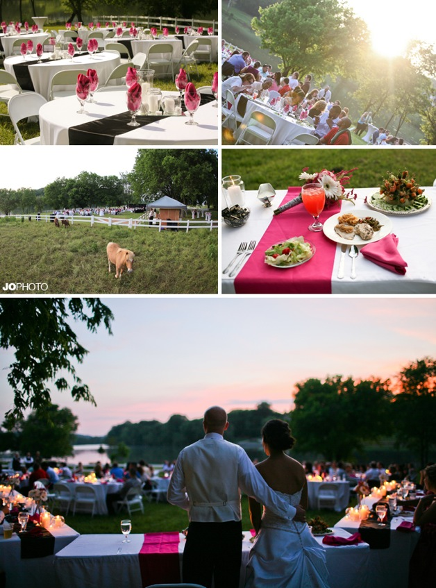 pink accents at outdoor wedding