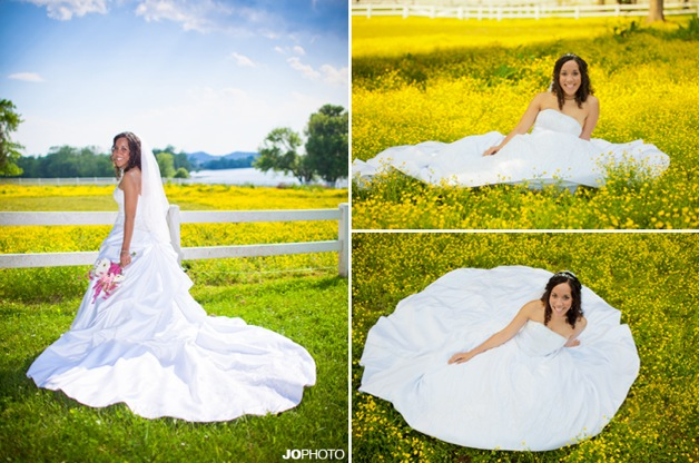 bride in strapless dress in field of yellow flowers