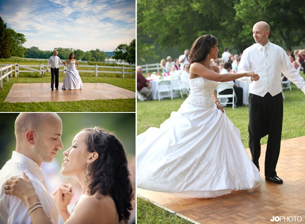 outdoor wedding with bride and groom dancing