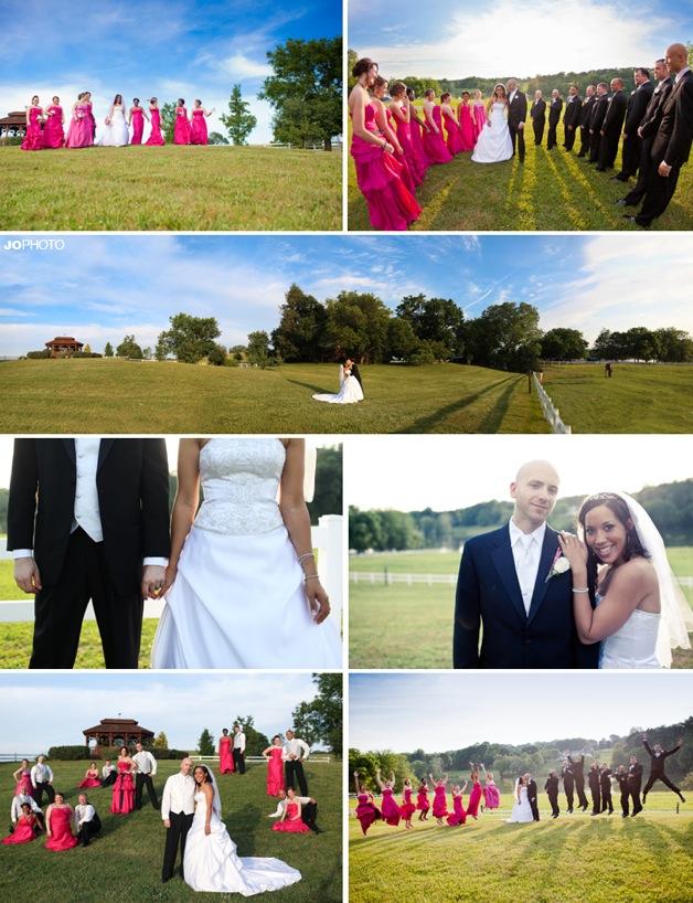 hot pink bridesmaids dresses on bridal party