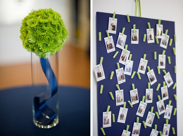 picture board and green boutonniere