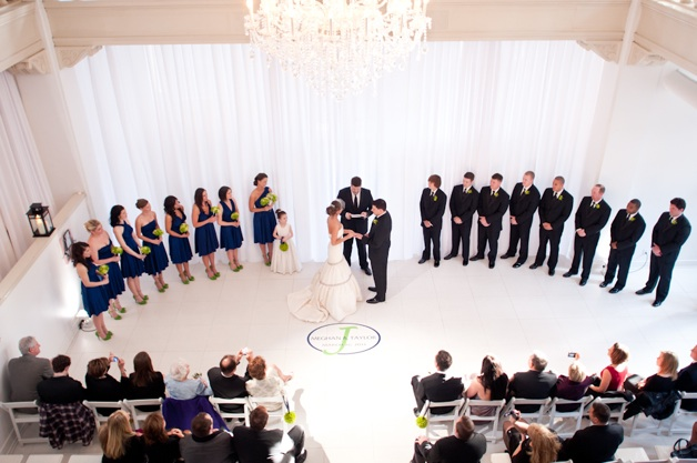 cobalt blue and green wedding in large white room