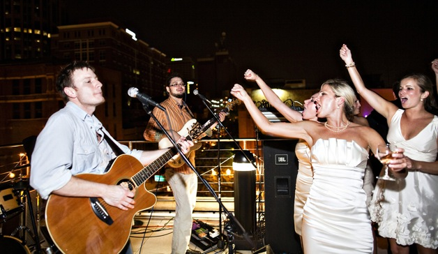 rooftop wedding with rock band