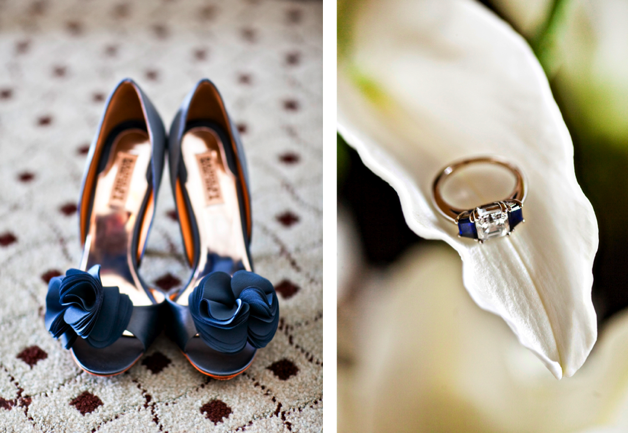 diamond and sapphire engagement ring and deep blue shoes