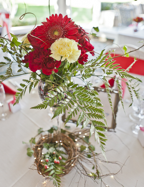 red table centerpiece