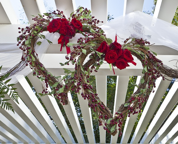 wicker hearts on outdoor canopy