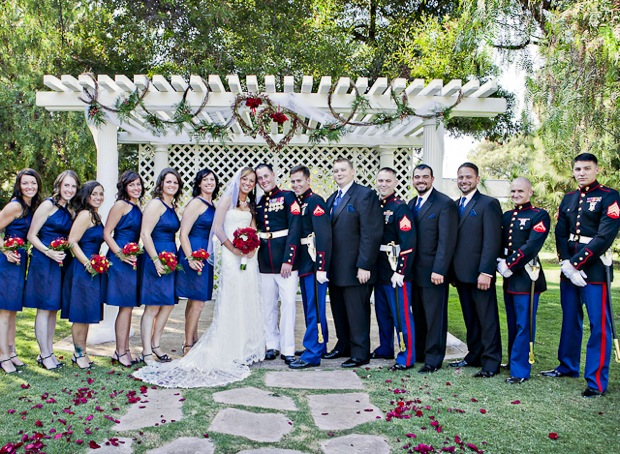 bridal party in military uniforms