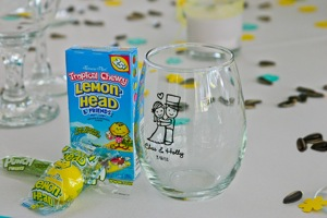 candy and personalized glass for wedding favors