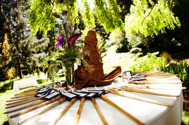 wedding table with harry potter hat