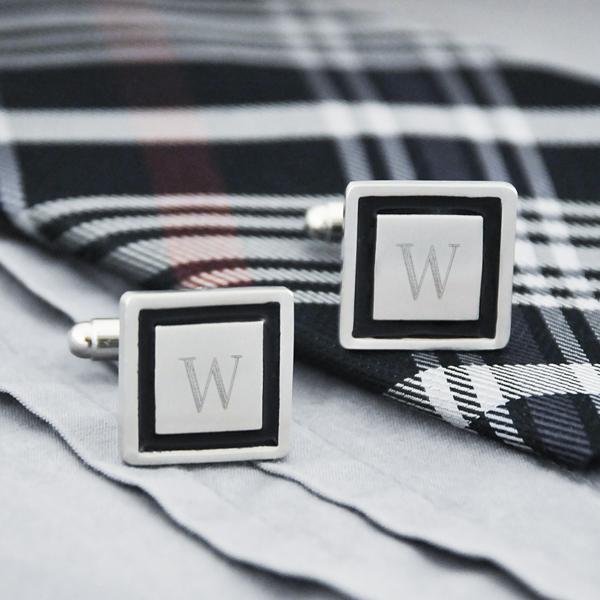 monogramed cufflinks